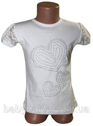 Футболка школьная  гипюровый рукав сердечки (от 6 до 12 лет), фото 2