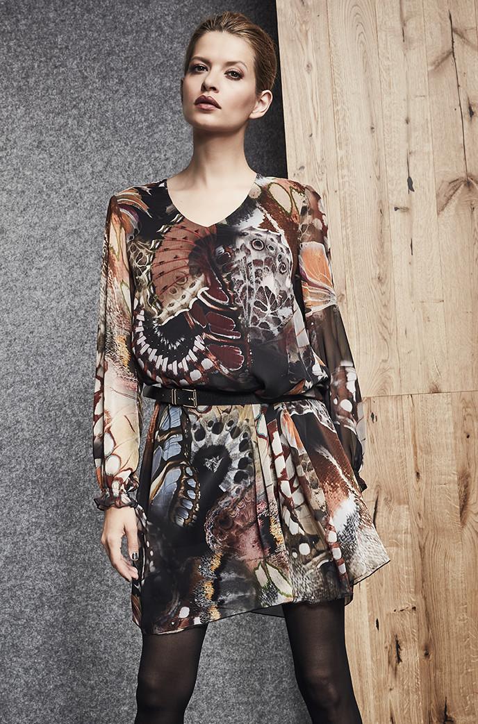 acae881e246 Легкое шифоновое платье с длинным рукавом. Модель 260068 Enny. Коллекция  осень-зима 2018