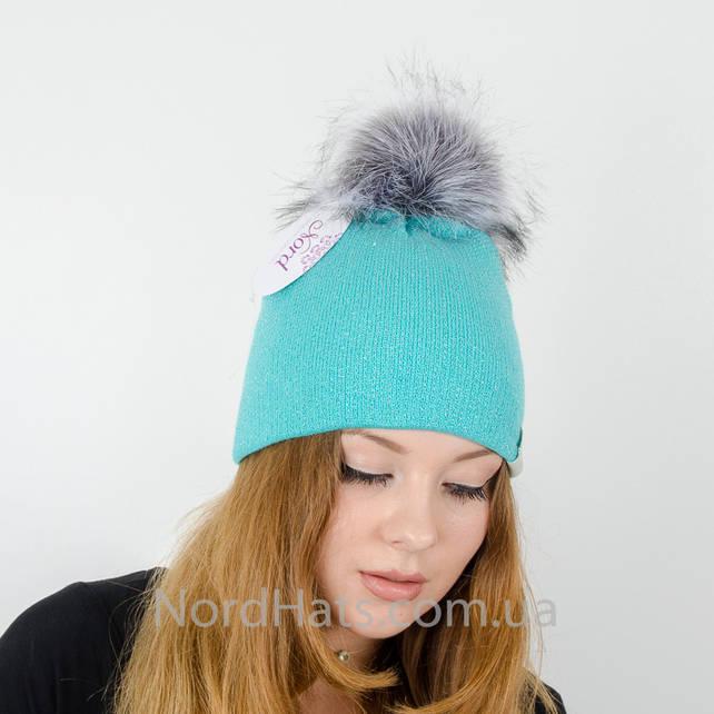 """Женская шапка с помпоном """"Ника"""" (Мята)"""