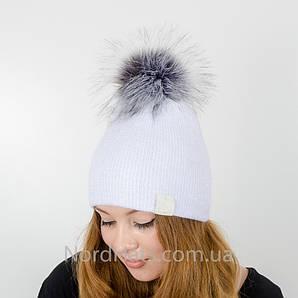 """Женская шапка с помпоном """"Ника"""" (Белый)"""