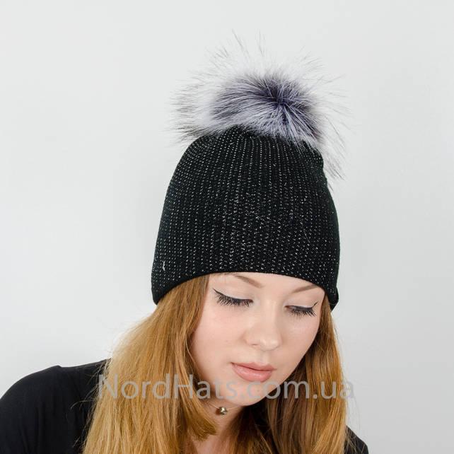 """Женская шапка с помпоном """"Ника"""" (Черный)"""