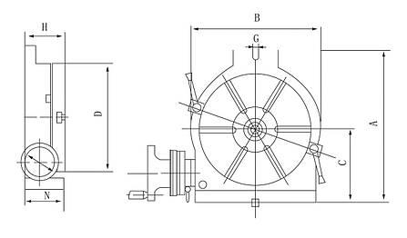 Горизонтальний і вертикальний поворотний стіл HV 8, фото 2