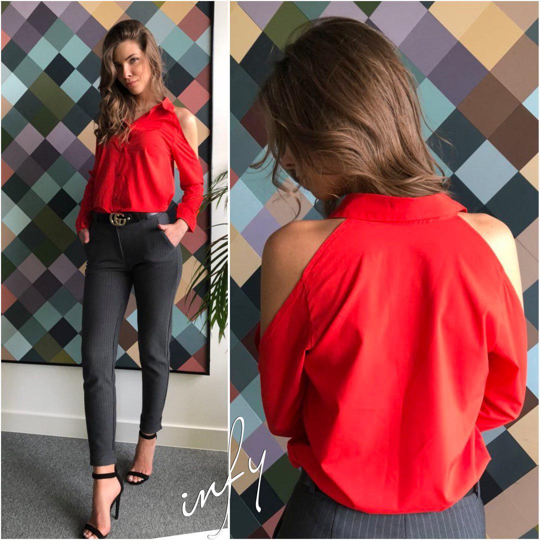 Рубашка с открытыми плечами, размер 42-44, Цвета белый, черный, красный, персик