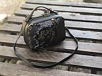 Сумка AL-SB-13 черные пайетки матовые + черный флотар, фото 1