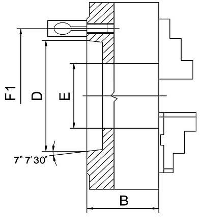 Точний 3-кулачковий патрон PO3-125/D4, фото 2