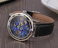Механічний годинник Winner Skeleton Silver-blue, фото 1
