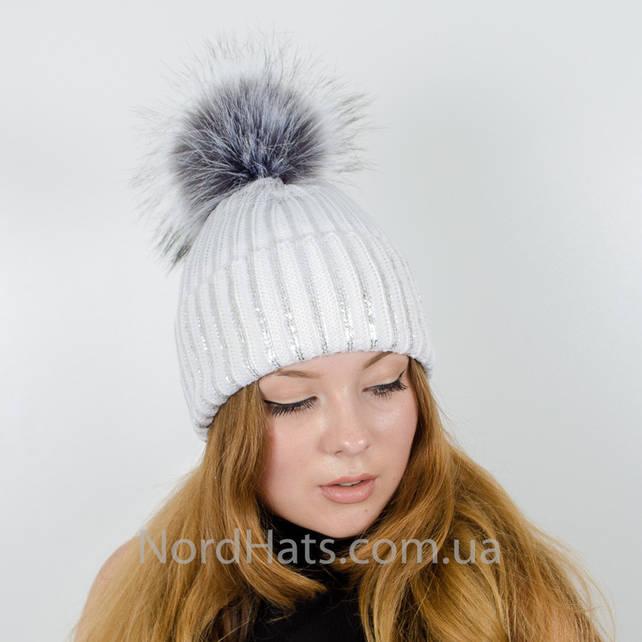 """Вязаная шапка с напылением """"Динара"""" (Белый)"""