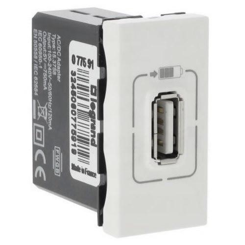 USB розетка, 1 модуль, білий, Legrand Mosaic
