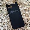 Кот с усами на iPhone 7+, черный