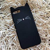 Кот с усами на iPhone 7+, черный, фото 1