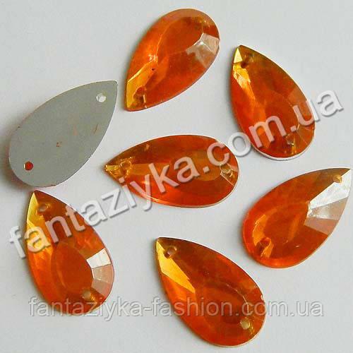 Камень пришивной, Капля большая ярко-оранжевая 20мм