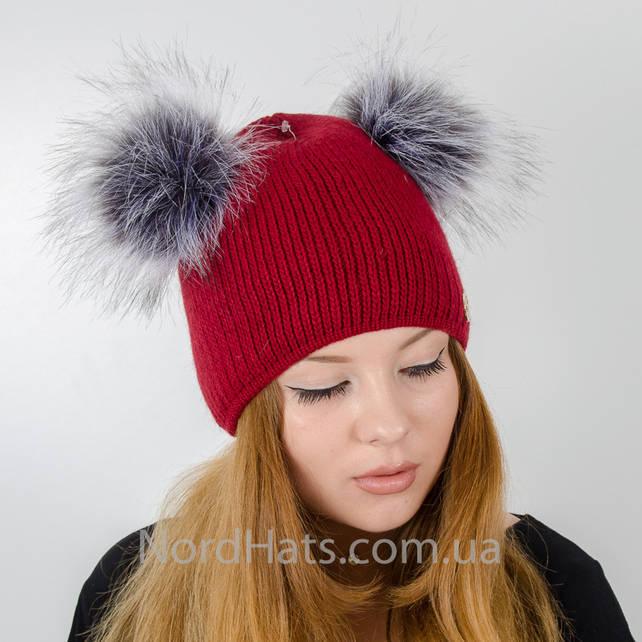 Вязаная шапка с помпонами Дора, (Бордо)