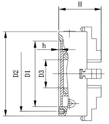Стандартний 4-кулачковий патрон DK12-80, фото 2