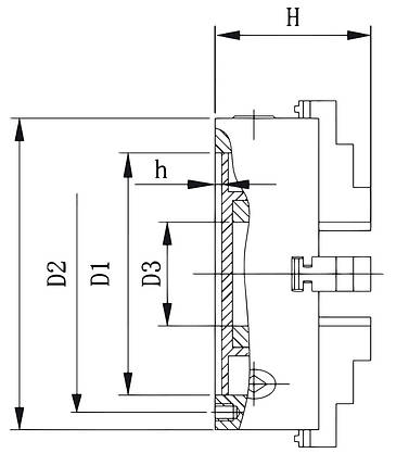 Стандартный 4-кулачковый патрон DK12-250, фото 2