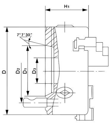 Стандартный 4-кулачковый патрон DK12-200/D6, фото 2