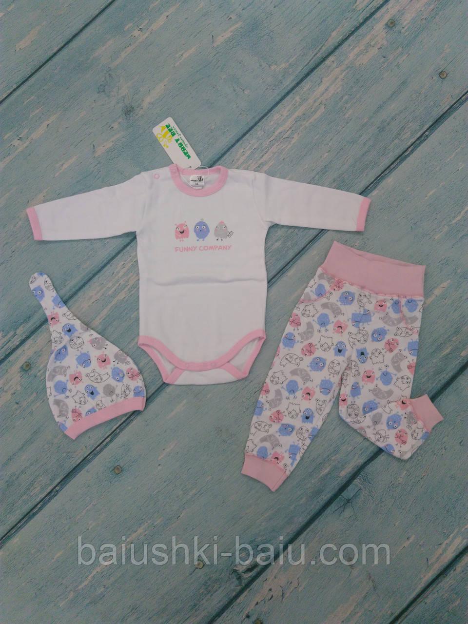 Комплект одежды для новорожденной девочки (интерлок), р. 6-9 месяцев