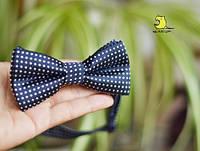 """Бабочка - галстук для костюма """"Черный горох"""""""