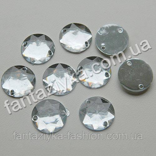 Пришивной камень, Круглый прозрачный 14мм