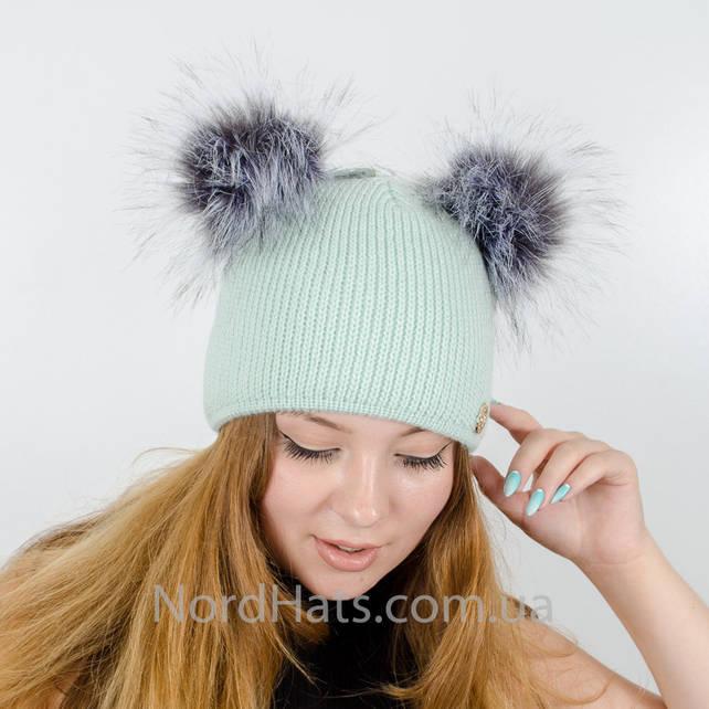 Вязаная шапка с помпонами Дора, (Мята)