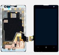 Дисплей (экран) для Nokia 1020 Lumia (RM-875) + тачскрин, цвет черный, с передней панелью, оригинал