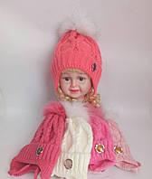 Детская шапка на флисе для девочки с натуральным мехом р 46-50