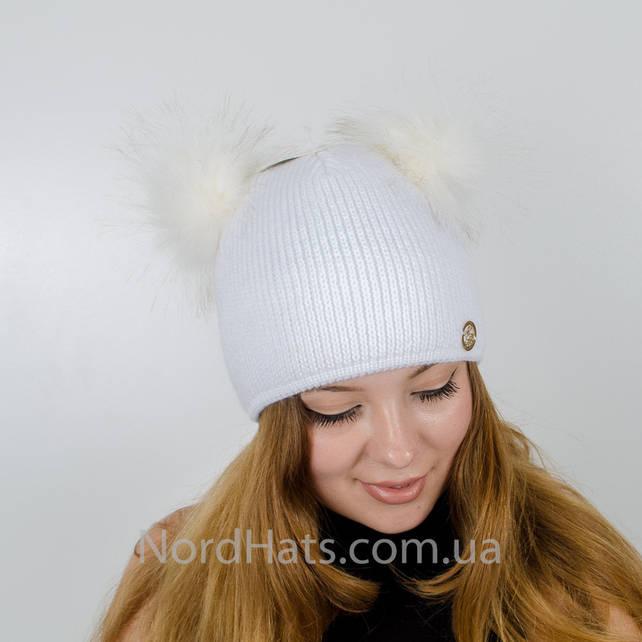 Вязаная шапка с помпонами Дора, (Белый)