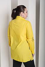 Желтая стильная рубашка больших размеров Экватор, фото 3