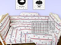 Набор в детскую кроватку из 6 предметов Морской постель мягкие бортики большое одело 140х100 подушка 3988
