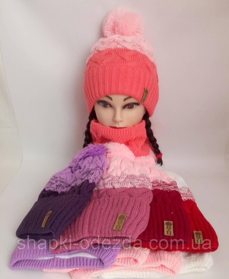 Детская шапка на флисе + хомут для девочки р 52-54