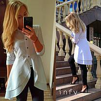 Стильная рубашка с двойной баской, размер 42, 44, 46, 48. Цветов 5!!!!!, фото 2