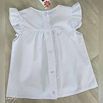 Детская белая блуза с рукавами крылышками. Размер 128, 134, 140, фото 2