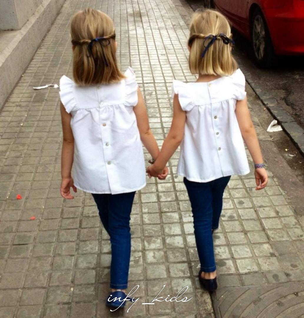 Детская белая блуза с рукавами крылышками. Размер 128, 134, 140