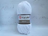 Пряжа для вязания YarnArt Dolce 741 белый, плюшевая пряжа для вязания пледов и игрушек, детская пряжа