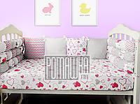 Постельный набор в детскую кроватку из 6 предметов постель мягкие бортики большое одело 140х100 подушка 3990 М