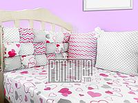 Защита (мягкие бортики, охранка, бампер) в детскую кроватку для новорожденного 3990 Малиновый