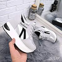 Кроссовки на платформе Lines серебро 5389, фото 1