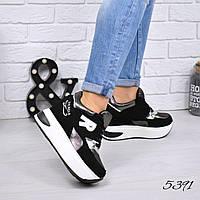 Кроссовки на платформе R черный + бронза 5391, фото 1