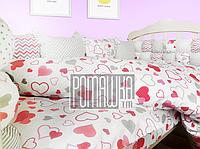 Детская постель и мягкие бортики в кроватку 120х60 см наволочка простынь пододеяльник и защита 3990 Малиновый