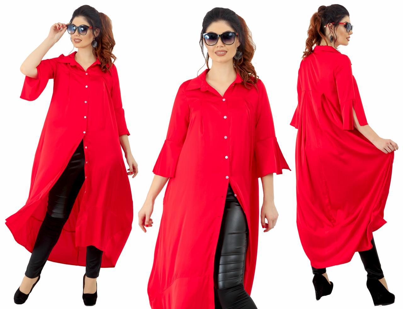 Платье рубашка на больших размеров 48+ с карманами / 3 цвета арт 6337-92