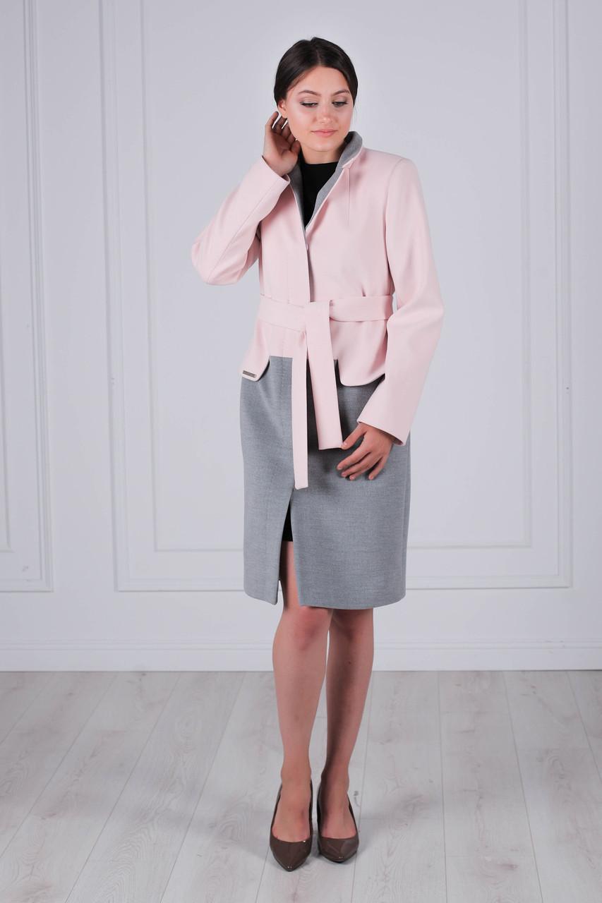 3804a2de7c8 Пальто женское демисезонное кашемировое серо-розовый - DRESSCOAT в Бердичеве