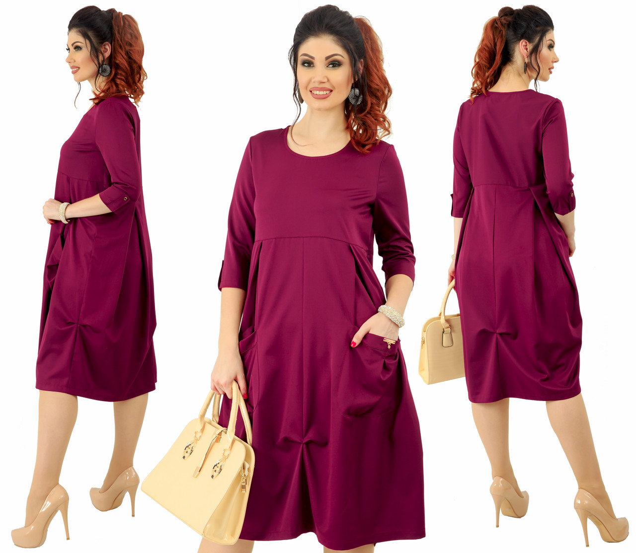 Платье  больших размеров 48+ свободного кроя с карманами / 4 цвета арт 6340-92