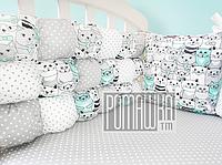 Защита (мягкие бортики, охранка, бампер) в детскую кроватку для новорожденного 3990 Бирюзовый