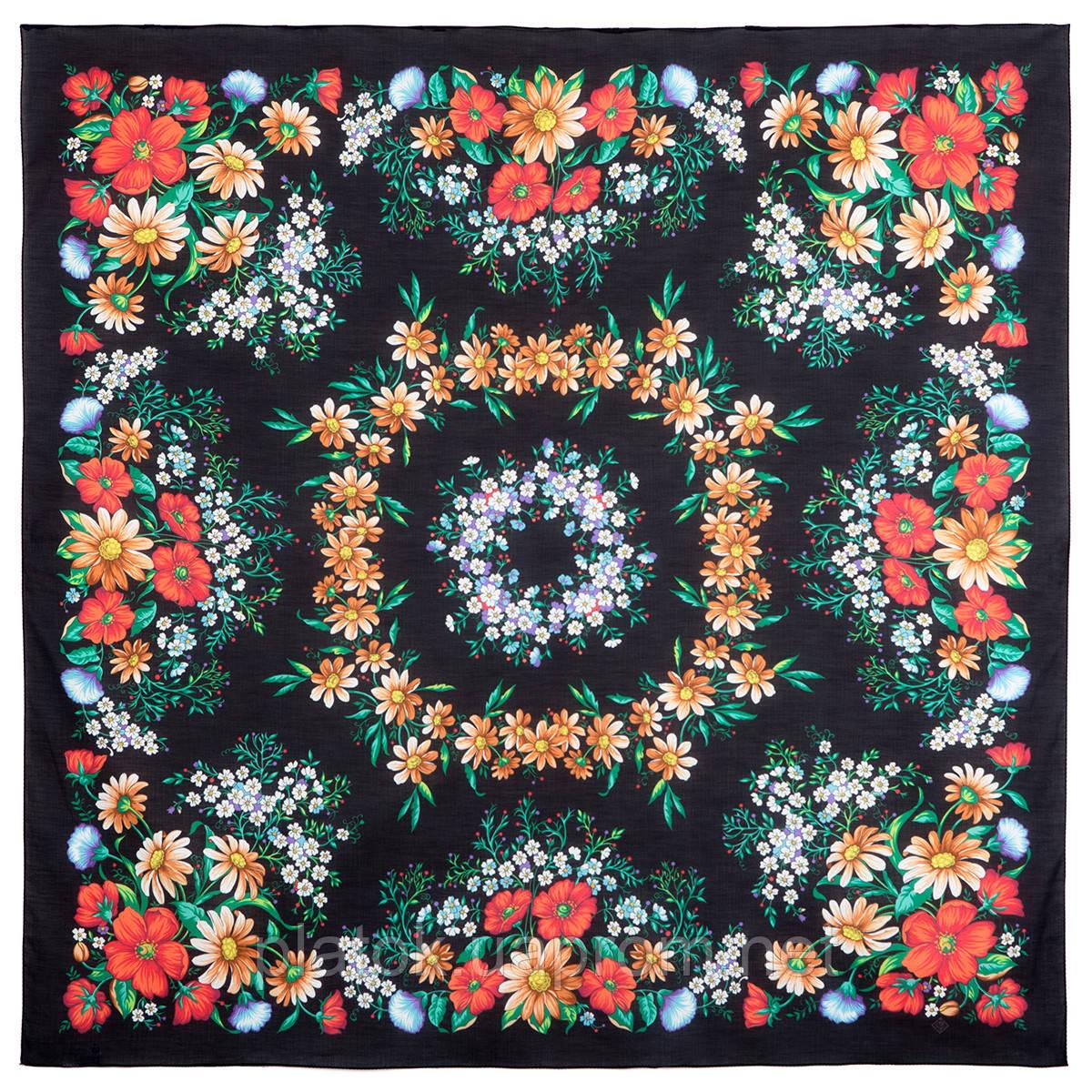 Солнечный танец 1711-18, павлопосадский платок хлопковый (батистовый) с швом зиг-заг