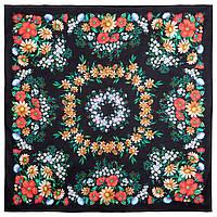 Солнечный танец 1711-18, павлопосадский платок хлопковый (батистовый) с швом зиг-заг, фото 1