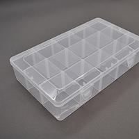 Пластмассовый ящик для радиодеталей, 275 х 55 х 165 мм, 15 больших отделений