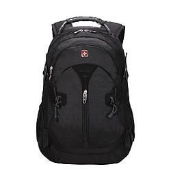 Вместительный рюкзак SwissGear Wenger, свисгир. Черный. + Дождевик. / s7255 black
