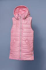 Удлиненная демисезонная жилетка для девочек 6-9 лет (жилет, р. 116-134) ТМ Модный карапуз Розовый