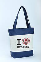 Большая женская сумка из эко-кожи с патриотической вышивкой. разные цвета, фото 1