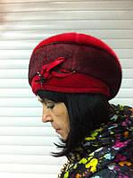 Берет из искусственной нерпы цвет красный с бордовым