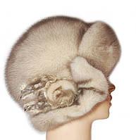 Меховая шляпа женская из норки цвет колотый лед